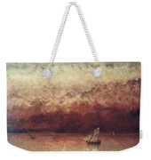 Lake Leman With Setting Sun Weekender Tote Bag by Gustave Courbet