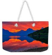 Lake Mcdonald Fiery Sunrise Weekender Tote Bag