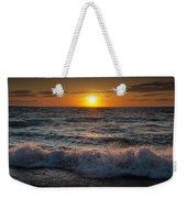 Lake Michigan Sunset With Crashing Shore Waves Weekender Tote Bag