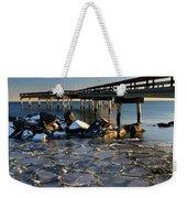 Lake Ontario Sunset At Toronto Center Island Pier In Winter With Weekender Tote Bag