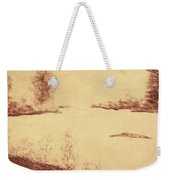 Lake Scene On Parchment Weekender Tote Bag