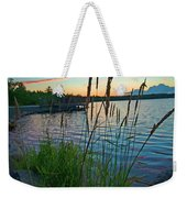 Lake Sunset And Sedge Grass Silhouettes, Pocono Mountains Weekender Tote Bag