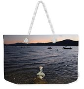 Lake Tahoe Sunset With Rocks And Black Framing Weekender Tote Bag