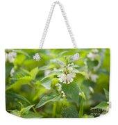 Lamium Album White Flowers Macro Weekender Tote Bag