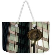 Lamp Post Against Green Glass Building Weekender Tote Bag