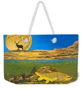 Landscape Art Fish Art Brown Trout Timing Bull Elk Full Moon Nature Contemporary Modern Decor Weekender Tote Bag