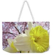 Landscape Daffodils Flowers Art Pink Tree Blossoms Spring Baslee Weekender Tote Bag