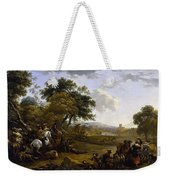 Landscape With A Hunting Party Nicolaes Claes Pietersz Berchem Weekender Tote Bag