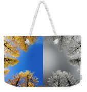 Larches Color To Black And White Reflection Weekender Tote Bag