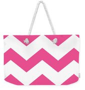 Large Chevron With Border In French Pink Weekender Tote Bag