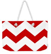 Large Chevron With Border In Red Weekender Tote Bag