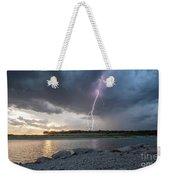 Large Lighting From Dark Clouds During Sunset At Large Lake Weekender Tote Bag