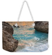 Large Rocks And Wave With Sunset On Paradise Island Greece Weekender Tote Bag
