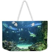Large Sawfish And Other Fishes Swimming In A Large Aquarium Weekender Tote Bag