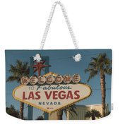 Las Vegas Welcome Sign With Vegas Strip In Background Weekender Tote Bag