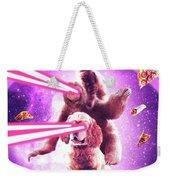 Laser Eyes Space Cat Riding Sloth, Dog - Rainbow Weekender Tote Bag