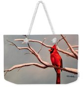 Last Snow Of Winter, Cardinal Weekender Tote Bag
