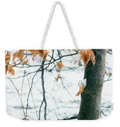 Last Snowy Leaves Weekender Tote Bag