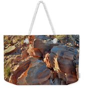 Last Sunlight On Jagged Sandstone In Valley Of Fire Weekender Tote Bag