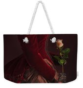 Late Victorian Woman In A Crimson Velvet Jacket And Dress Holdin Weekender Tote Bag