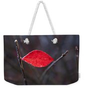 Lateral Red Leaf Weekender Tote Bag