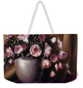 Lavander And Pink Flowers In Silver Vase Weekender Tote Bag