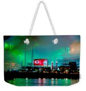 Laser Green Smoke And Reds Stadium Weekender Tote Bag