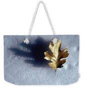 Leaf On Snow Weekender Tote Bag
