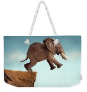 Leap Of Faith Concept Elephant Jumping Into A Void Weekender Tote Bag