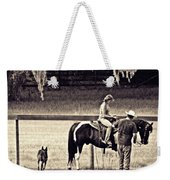 Learning To Ride Sepia Weekender Tote Bag