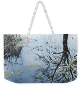 Leaves And Reeds On Tree Reflection Weekender Tote Bag