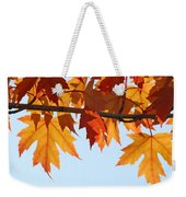 Leaves Autumn Orange Sunlit Fall Leaves Blue Sky Baslee Troutman Weekender Tote Bag