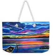 Left Alone A Seascape Boat Painting At Sunset  Weekender Tote Bag