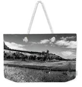 Legend Of The Bear Wyoming Devils Tower Panorama Bw Weekender Tote Bag