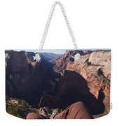 Legs Dangle Over The Cliff Looking Weekender Tote Bag