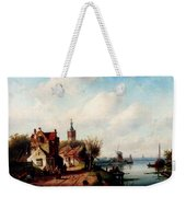 Leickert Charles A Village Along A River A Town In The Distance Weekender Tote Bag
