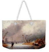 Leickert Charles A Winter Landscape With Skaters On A Frozen Waterway Weekender Tote Bag