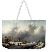 Leickert Charles Henri Joseph A Frozen Winter Landscape With Skaters Weekender Tote Bag