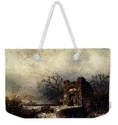 Leickert Charles Henri Joseph Villagers On A Frozen Path Weekender Tote Bag