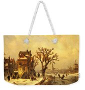 Leickert Charles Skaters In A Frozen Winter Landscape Weekender Tote Bag