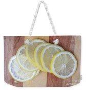 Lemon Slices On Cutting Board Weekender Tote Bag