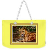 Leopard Beauty Catus 1 No. 1 L A With Decorative Ornate Printed Frame Weekender Tote Bag