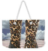 Leopard Boots With Ankle Straps Weekender Tote Bag