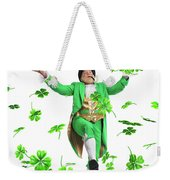 Leprechaun Tossing Shamrock Leaves Up In The Air Weekender Tote Bag by Oleksiy Maksymenko