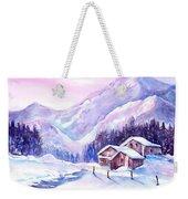 Swiss Mountain Cabins In Snow Weekender Tote Bag