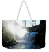 Letchworth State Park Upper Falls And Railroad Trestle Abstract Weekender Tote Bag