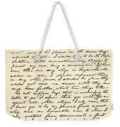 Letter From Abraham Lincoln To Alden Weekender Tote Bag