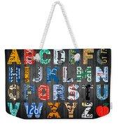 Letters Of The Alphabet Recycled Vintage License Plate Art With Apple Colorful School Nursery Kids Room Print Weekender Tote Bag