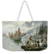 Lewis And Clark On The Lower Columbia River Weekender Tote Bag by Charles Marion Russell