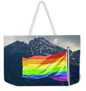 Lgbtq Rainbow Flag With Snowy Mountain Background View Weekender Tote Bag